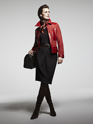 Red Jacket black skirt 1