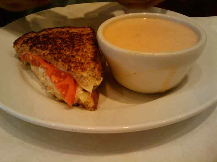 Chicken Salad Melt and Bisque